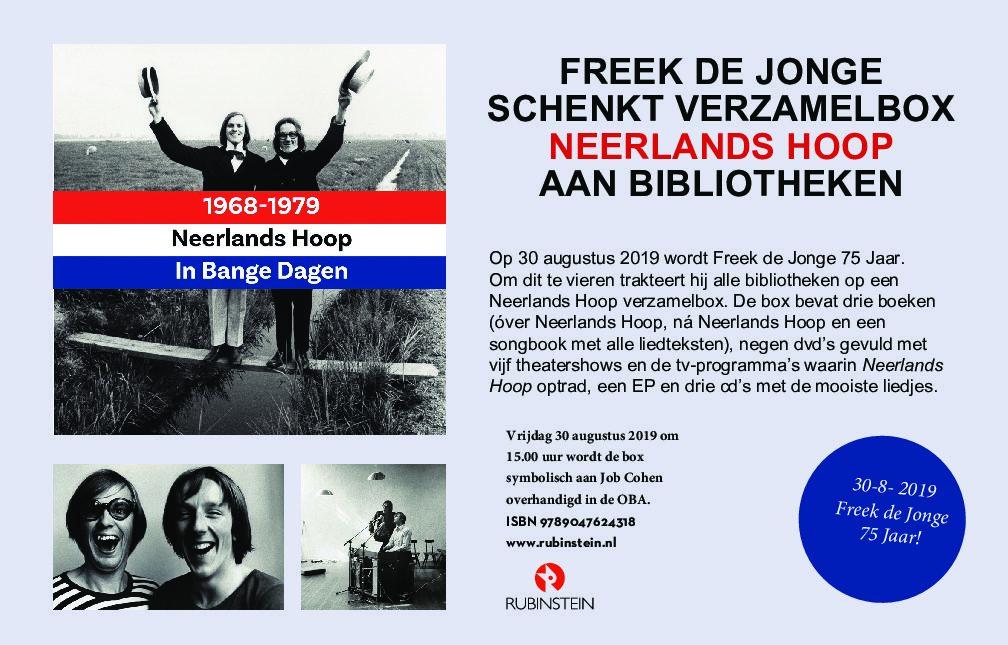 Freek de Jonge schenkt Neerlands Hoop aan bibliotheken